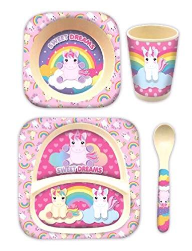 HOVUK - Juego de vajilla de bambú para niños de bambú con diseño de unicornio de Disney, multicolor