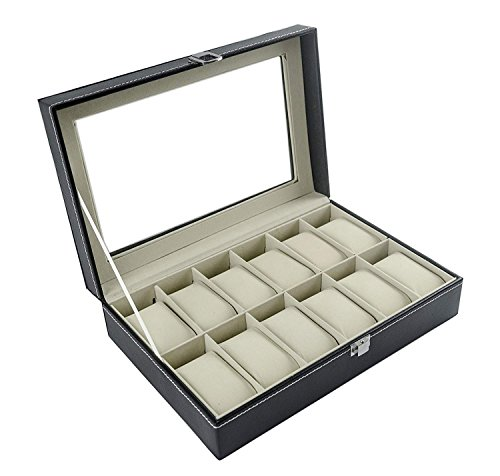 Feibrand - Caja Relojes, Estuche/Guarda Relojes, Hombre, para 12 Relojes, Negro