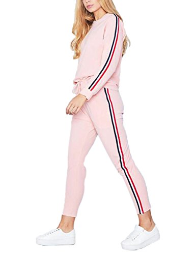 SOMTHRON Damen Herbst Winter Fashion Trainingsanzug Set mit 2 Streifen Lange Ärmel + Hose Casual Sportanzug Fitnessraum Alltagsleben(PI,M)