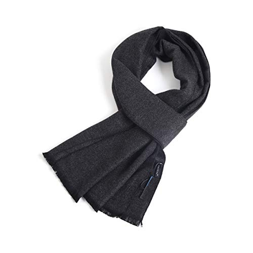 FULLRON Men Winter Cashmere Scarf, Dark Grey Cotton Scarves for Men