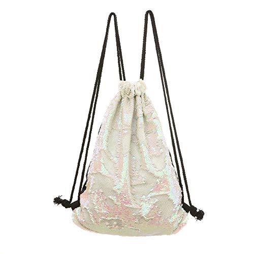 QXbecky Sac femme sirène paillettes botte poche sac de rangement extérieur cordon de serrage sac de sport sac à dos sac de voyage loisir couleur magique 34x45cm