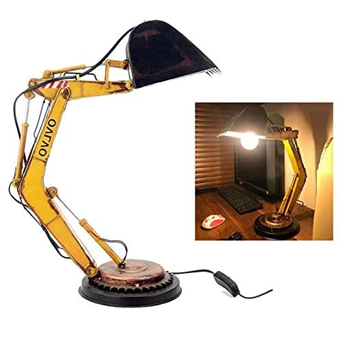 Lámparas de mesa vintage hierro industrial LED noche lámpara mesita dormitorio decoración escritorio lámpara excavadora modelo retro mesa luz