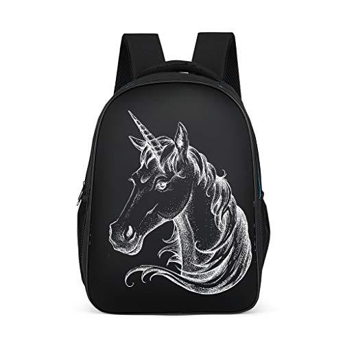 Dofeely Unicornmuster dagrugzak schooltas grote capaciteit lichtgewicht schooltas jeugd sporttas voor camping onderweg met zijvakken