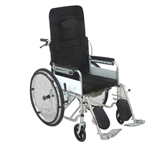 Lowest Prices! Lightweight Portable Reclining Manual Wheelchair for Handicapped with Toilet Function...