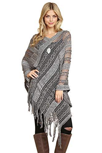 Bohemian Sequin Glitter Shawl Wrap Poncho - Kimono Cardigan, Sparkly Metallic Mesh Scarf, Open Knit Crochet Sweater Cape (Crochet Pullover Poncho - Gray)