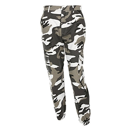 Yying Camouflage Hose Mädchen Military Hose Jogger Dance Pant grau S