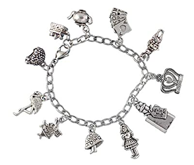 Alice in Wonderland Charm Bracelet- Stainless Steel Chain- Rabbit, Drink Me, Cards, Tea Pot- Size XS (6.5 Inches (Extra Small))