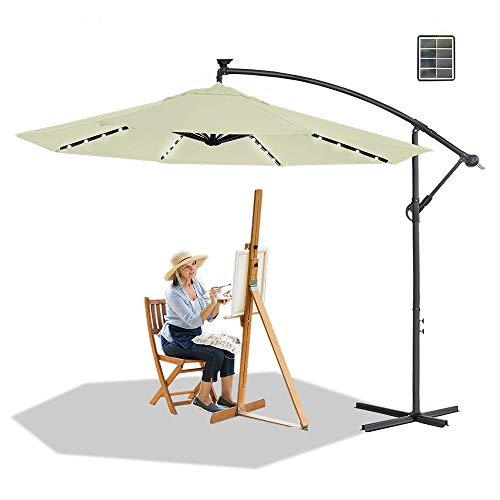 HENGMEI Ombrellone da Giardino Parasole Ø 350cm Alluminio Poliestere Parasole con LED Solare Protezione UV Impermeabile, Beige
