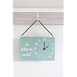 Double Sided In Session Wood Clock Sign with Welcome on the reverse side.