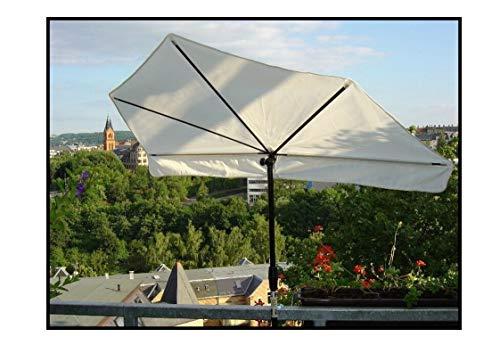 Holly NEU Fächer Schirm Shadow - Natur mit 2 TER Halterung durch Umbausatz für 40 + 60 mm Ø - Made IN Baden WÜRTTEMBERG