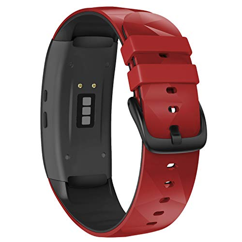 NotoCity Compatible with Samsunsung Gear Fit2 Pro Bands Replacement Silicone Band for Samsung Gear Fit2 / Gear Fit 2 Pro Smartwatch (Red-Black, Large)