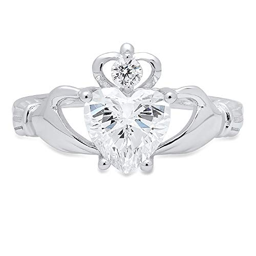 1.65 ct Brilliant Heart Cut Designer Irish Celtic Claddagh Solitaire Anniversary Engagement Wedding Bridal Promise Band Ring in Solid 14k White Gold