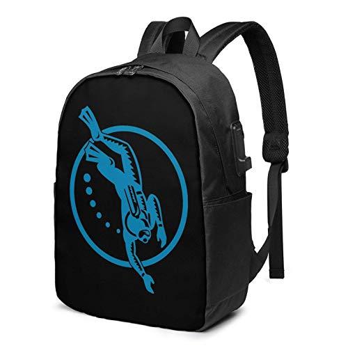 XCNGG Scuba Diver Tauchen Retro Business Laptop Schule Bookbag Reiserucksack mit USB-Ladeanschluss & Kopfhöreranschluss Fit 17 in
