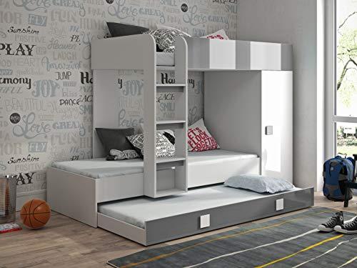 Etagenbett für Kinder TOLEDO 2 Stockbett mit Treppe und Bettkasten KRYSPOL (Weiß + Grau Glanz)