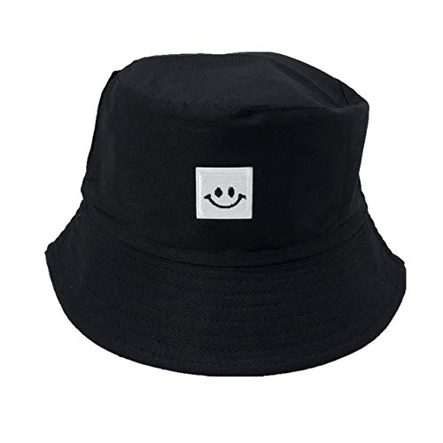 Sombrero de Cubo Plegable Bordado Unisex Sombrero de Playa para el Sol Sombrero de Calle Sombrero de Pescador al Aire Libre Sombrero de Hombre y Mujer-10-Smiley C-Black