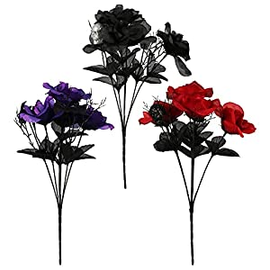 halloween floral roses with skulls and bats, halloween flowers, artificial roses for decoration, black flowers, purple flowers, red roses artificial flowers (set of 3) silk flower arrangements