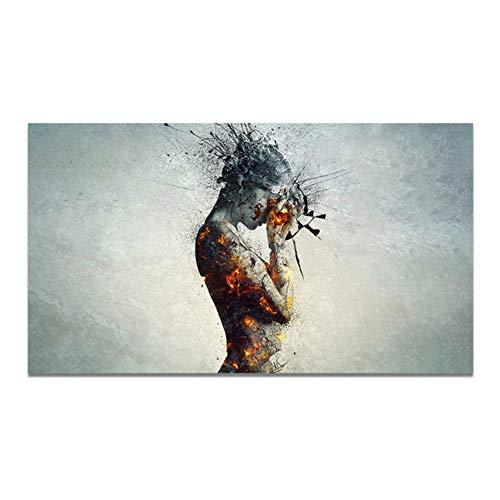 Explosión corporal Cabeza Arte de la pared Imagen Lienzo Pintura Carteles Imprimir Imagen de la pared Decoración para sala de estar 60x120cm (23.6x47.2 pulgadas) Sin marco