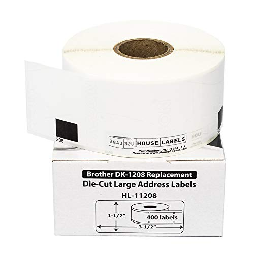 "HOUSELABELS Compatible with DK-1208 Replacement Roll for Brother QL Label Printers; 400 Address Labels; 1-1/2"" x 3-1/2"" (38mm90mm) - 24 Rolls"
