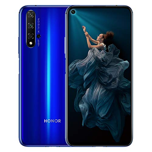 HONOR 20 Dual SIM Smartphone, 6.26 Inch Display, 48 MP AI Quad Camera, 6GB RAM + 128 GB storage, Side Fingerprint,Sapphire Blue, UK Official Version