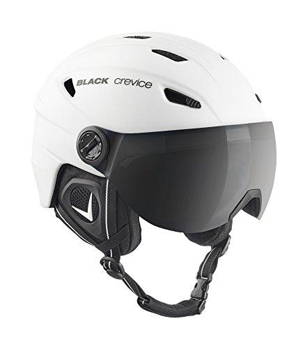 BLACK CREVICE Casco de esquí Silvretta I Casco esquí con Visera en Estilo piloto I I Casco esquí Unisex I Casco de esquí de policarbonato Transpirable I Talla Ajustable (S, Blanco/Negro)
