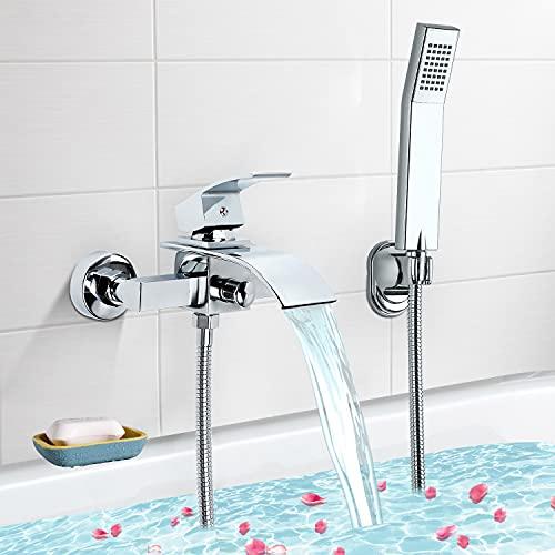 Miscelatore Vasca da Bagno, VENTCY Rubinetto Vasca da Bagno, Miscelatore Doccia Ottone Cromo con doccetta manuale, monocomando, per vasca da bagno