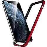 iPhone12ケース / iPhone12 Pro バンパー,アルミバンパー レンズ保護 耐衝撃 ストラップホール付き [アルミ+シリコン 二重構造] 軽量 一体感 ボタン保護 アイフォン12/12pro 用バンパー おしゃれ (iPhone12 / iphone12pro, レッド)