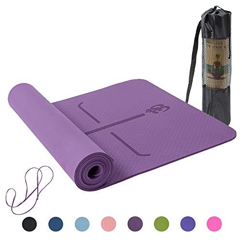 Lixada Esterilla de Yoga Antideslizante TPE Insípido con Línea de Posición Colchoneta de Yoga Alfombrilla de Yoga para Fitness Culturismo Pilates 183 * 61cm