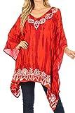 Sakkas 1802 - Alizia Leggera Batik Top Camicia Tunica con Ricamo Caftano Coprispalle Poncho - Arancione Bruciato - OS