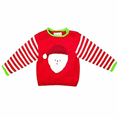 Zubels Baby Hand-Knit Cotton Santa Claus Sweater, All-Natural, 24 Months/2T, Red