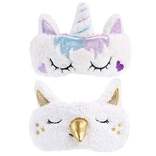 Kesote 2 Stück Einhorn Schlafmaske Augenklappe Unicorn Augenabdeckung Augenblende, Gold und Lila