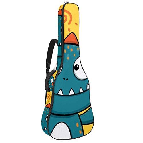 Mochila para guitarra con diseño de dinosaurio de dibujos animados con funda gruesa para guitarra acústica y bajo eléctrico