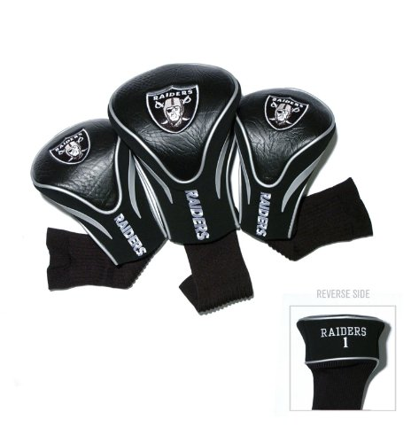 Team Golf NFL Oakland Raiders Contour Golf Club Headcovers (3 Count), Numbered 1, 3, & X, Fits Oversized Drivers, Utility, Rescue & Fairway Clubs, Velour lined for Extra Club Protection, Multi Team Colors, One Size
