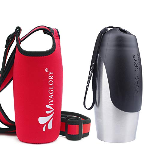 Vivaglory 25oz Stainless Steel Dog Walking Water Bottle and Red Neoprene Water Bottle Holder with Adjustable Wide Shoulder Strap