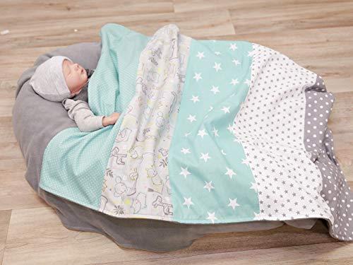 Coperta per neonato ULLENBOOM  Safari Menta Piperita (70x100 cm, ideale come copertina per la carrozzina, adatta come tappeto gioco)