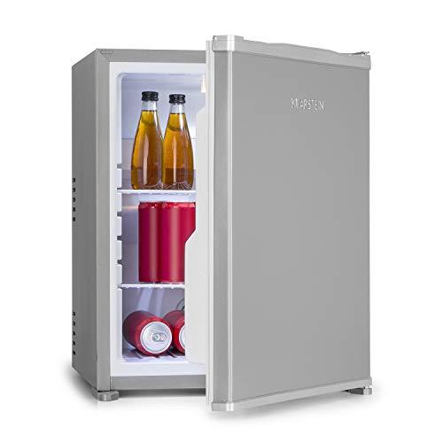 Klarstein Nagano M Mini-Kühlschrank - 44 Liter Nutzinhalt, Kühlung von 0-8°C, 0dB, lautlos, geräuschlos, 56 cm Höhe, noFrost, Automatisches Abtausystem, 2 Ablagen, 3 Türfächer, silber