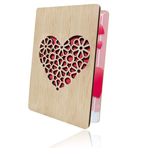 Einladung Karte Holz,Geschenkkarte,Handgefertigte Grußkarten,Weihnachtskarte,Grußkarten aus Bambus und Holz, Grußkarte für Hochzeitstag-Beste Kreative Geschenkkarten für Valentinstag