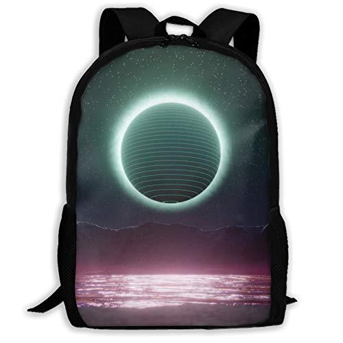 Moon Retroart - Mochila de viaje para portátil con capacidad ligera para papelería, para niñas, niños, escuela, mujeres, hombres, oficina