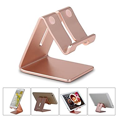 Honsky New Version Solid Aluminum Cell Phone Tablet Desk Charging Stand, Universal Display Desktop Holder Cradle, Compatible iPhone iPad Mini Android Home Office Travel Kitchen, Rose Gold