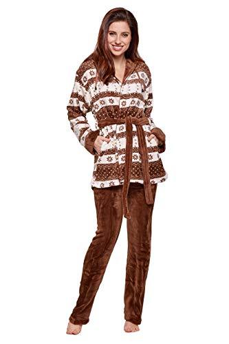 Selente Sweet Dreams Soffice completo donna per casa in caldo pile: vestaglia con tasche, cappuccio, cintura e pantaloni, marrone neve, S