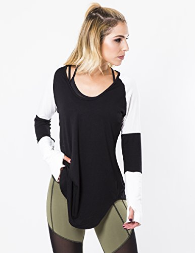 Iron Lily Women's Rival Long Sleeve Shirt, Black/White, Small