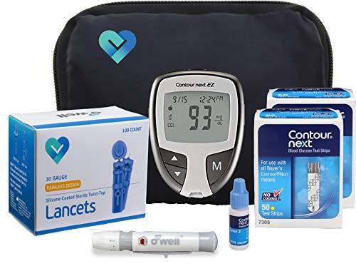 O'WELL Contour NEXT EZ Blood Glucose Monitoring Kit | Starter Kit + 100 Refills | Contour EZ Meter,...