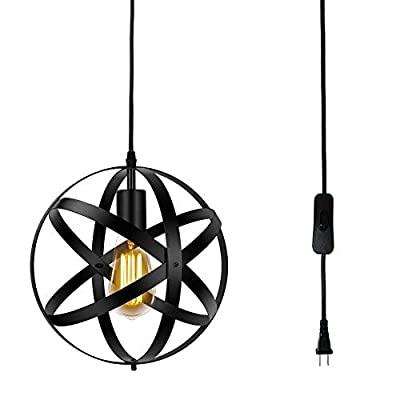 Riomasee Industrial Farmhouse Plug in Pendant Lighting Vintage Metal Globe Hanging Light Fixture with 14.27 ft Hanging Cord On/Off Switch,Black Plug in Chandelier for Kitchen Island,Bedroom,Barn