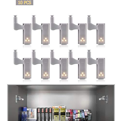 TopHGC 10 STÜCKE Scharnier Led-licht, LED Sensor Licht Schrank Kleiderschrank Beleuchtung Sensor Nachtlichter (Warmweiß)