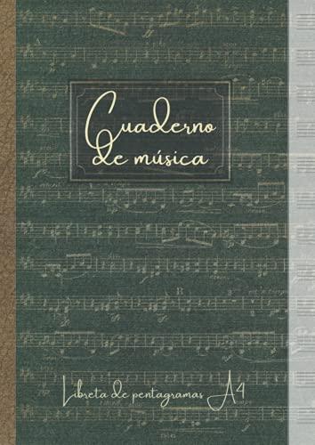 Cuaderno de música - Libreta de pentagramas A4: Papel pentagramado para escribir...