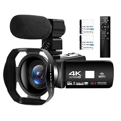 Videocamera 4K Ultra HD 48MP Videocamera Digitale WiFi Videocamere per Youtube Touch Screen 3,0 pollici Videocamera con Zoom Digitale 18X con Microfon