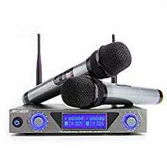 UHF Wireless Microphone System — Works at 220-599 MHz fixed frequency with strong anti-interference ability. High Signal/Noise Ratio Performance — Broad Frequency Response Range, low distortion. Features dual antennas to maximize wireless signal stre...