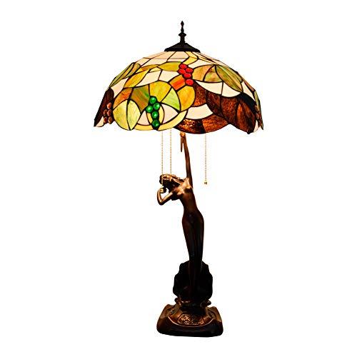 GUOGEGE Tiffany tafellamp, pastoral grape kunst handgemaakt gekleurd glas bureau licht decor woonkamer slaapkamer nacht YF250