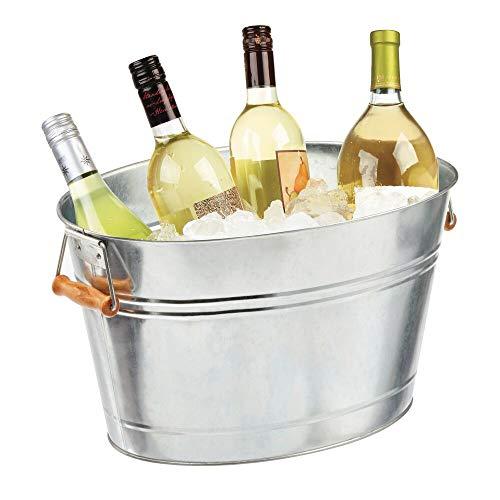 mDesign Flaschenkühler aus Metall – dekorativer Getränkekühler mit Griffen – ideal als Getränkewanne für Bier, Sekt, Wein & Softgetränke – silberfarben