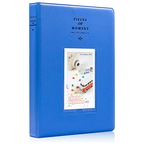 Ablus 128 Pockets Mini Photo Album for Fujifilm Instax Mini 7s 8 8+ 9 25 26 50s 70 90 Instant Camera & Name Card (Cobalt Blue)