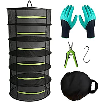 """Herb Drying Rack Hanging Dryer Mesh Drying Rack with Green Zipper, 2ft 6 Layer Plant Drying Rack Dry Net Pruning Shears, Hook, Garden Gloves for Herb, Flowers, Bud, Seeds, Nuts (24""""x47"""")"""